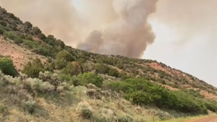 Smoke seen for miles from a wildfire south of Craig