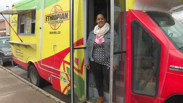 Fetien Gebre-Michael stands outside of her Ehtiopian Food Truck in the Five Points neighborhood.