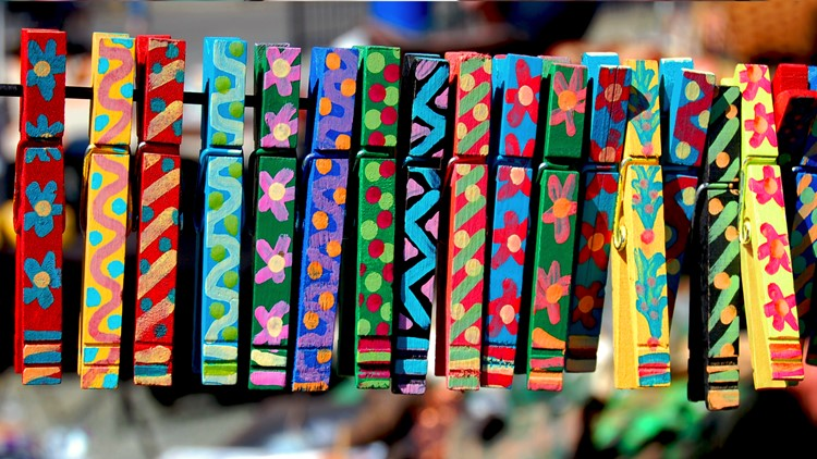 Colorful Hand-painted Clothes Pins art show festival