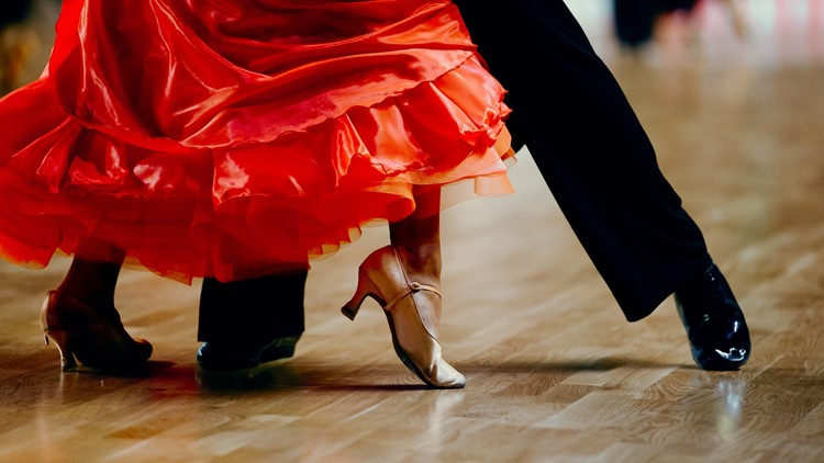 dance sports couple red dress black suit tail ballroom dancing