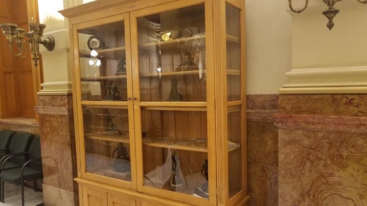 Broken glass cabinet