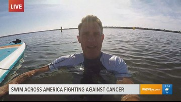 Matt Renoux swims during a solo live shot because of course he did