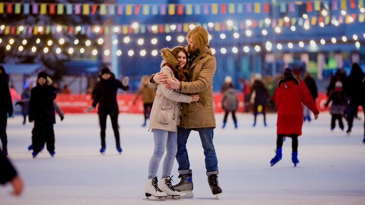 Ice skating rink and lovers together ice skating ice skates
