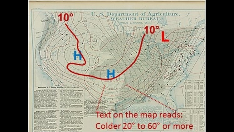 1911 Weather map