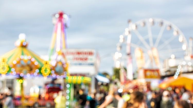Defocused Crowded Streets in Canberra Show Night carnival summer fair