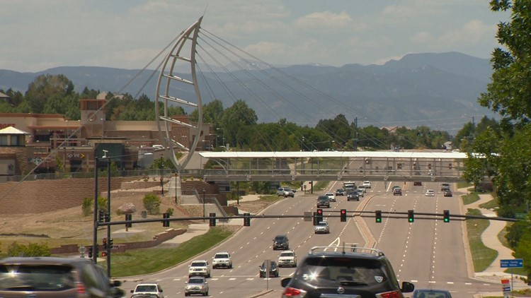 The Leaf Pedestrian Bridge that cross Lincoln Avenue and I-25. (Courtesy: Corky Scholl)