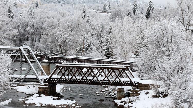 Frozen landscape in Durango Colorado