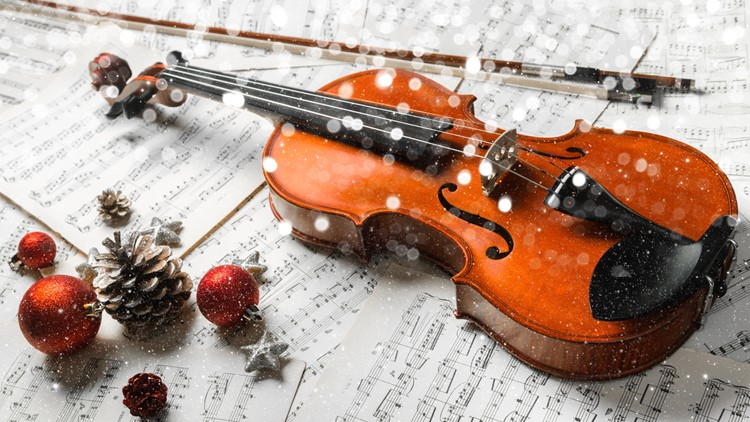 Close-up Photo Of Violin, Musical Notes and Christmas decoration christmas concert violins cellos concert symphony