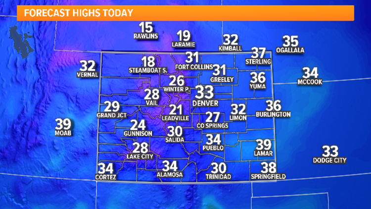 Advisories for snow south, cold with flurries tonight in Denver