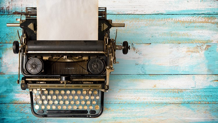 Vintage typewriter header with old paper. retro machine technology - top view and creative flat lay design. antiques