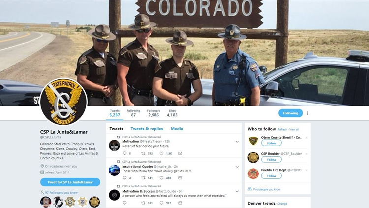 This rural Colorado State Patrol Twitter account wants you to live your best life