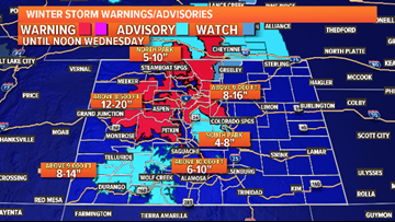 Winter storm warnings for mountains, wet morning commute along the Front Range