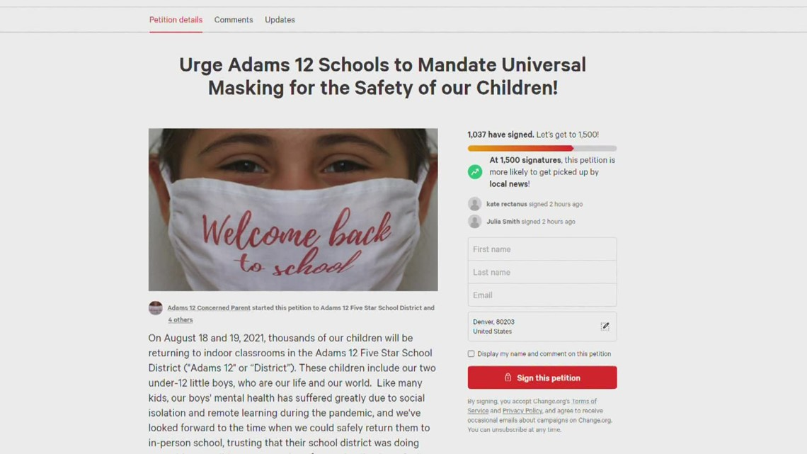 Parents petition for masks in Adams county schools