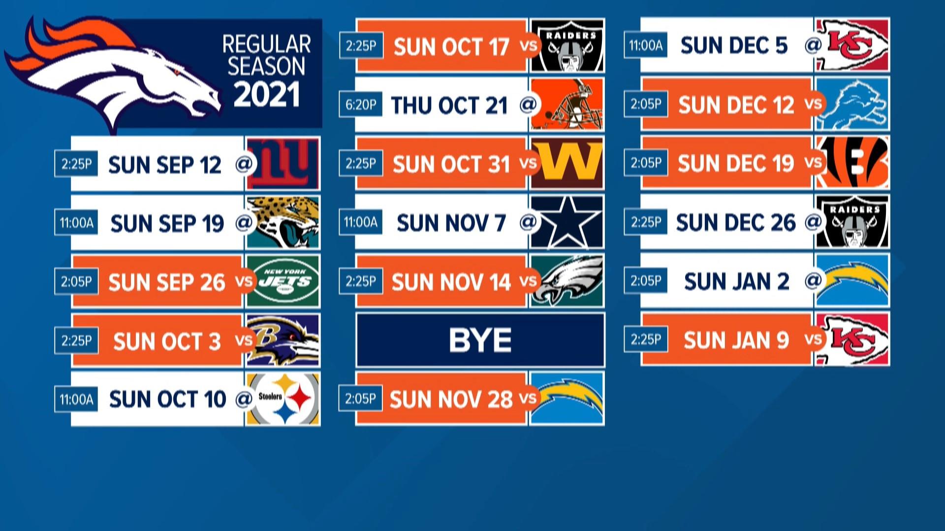 Denver Broncos 2021 NFL schedule released | 9news.com