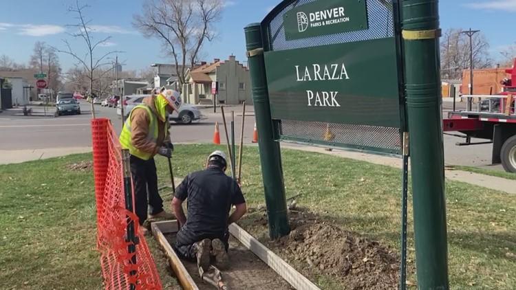 RAW: 'La Raza Park' signs installed at newly renamed Denver park