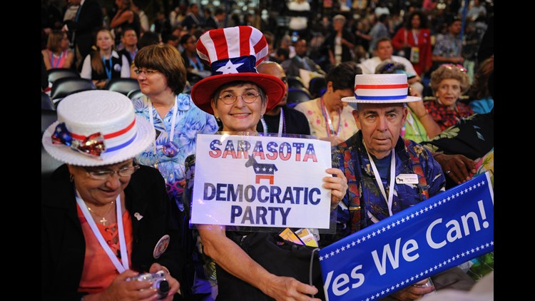 Delegates from Sarasota, Florida, show their support at the Democratic National Convention 2008 at the Pepsi Center in Denver, Colorado, on August 25, 2008