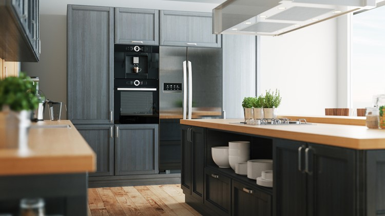 Realistic illustration 3d render of a kitchen fancy kitchen parade of homes