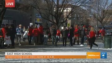 9News Reporter Jon Glasgow Visits East High School During Day Three Of The Teacher Strike