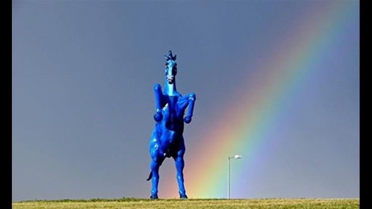 Demon Horse in front of a rainbow.
