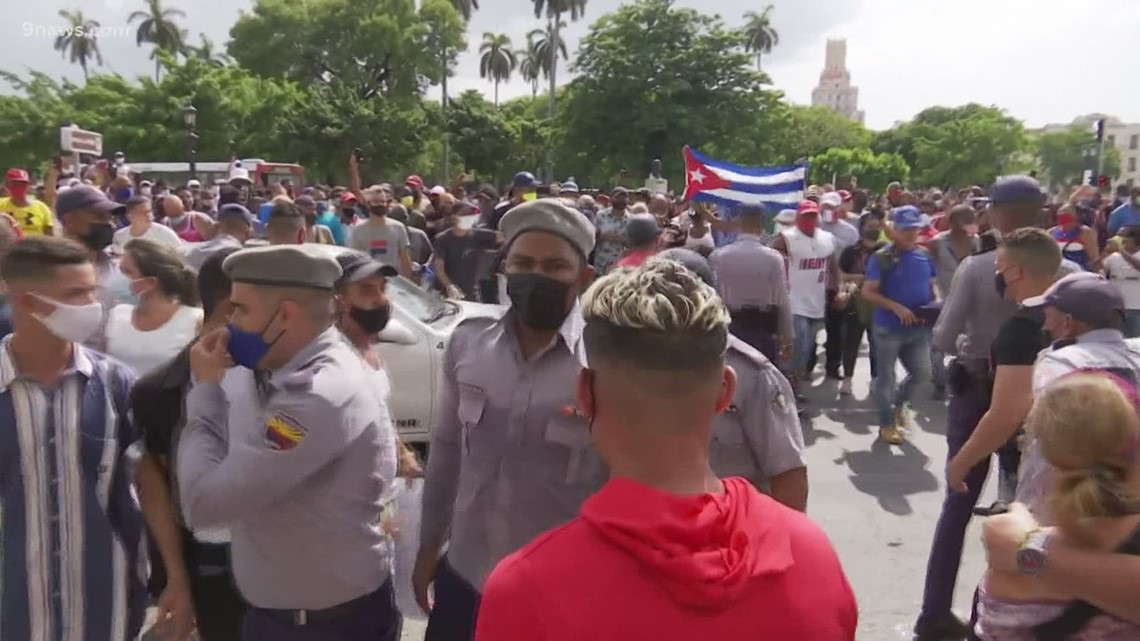 Protesters hold demonstration at Colorado Capitol in solidarity with Cuba
