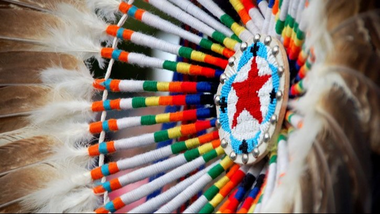 indian dress close up powwow feathers