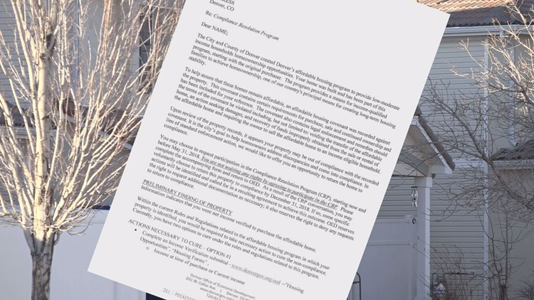 Denver has sent out a new letter to homeowners who are involved in the city's affordable housing mess.