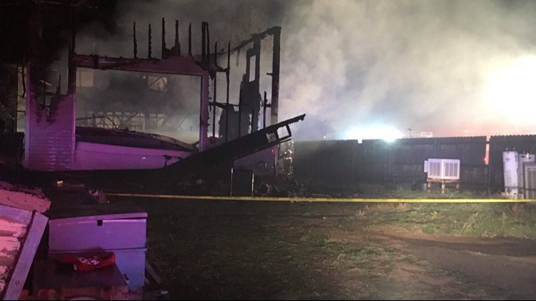 Firefighters responded to the fire just before midnight Tuesday.