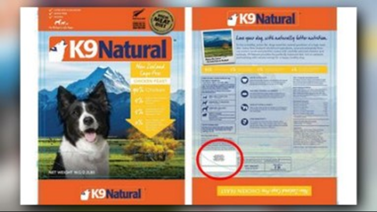 Bags of 'K9 Natural Frozen Chicken Feast' are being recalled.