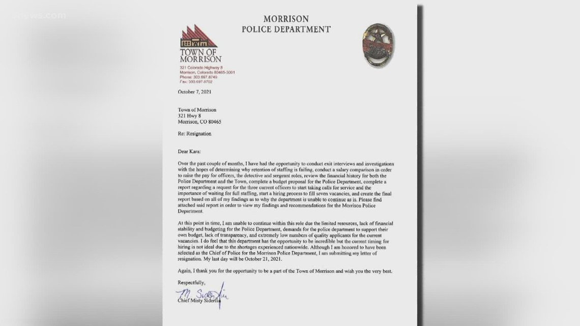 Morrison police chief resigning after 3 months