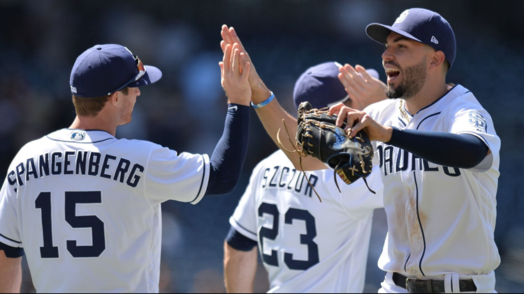 Right-hander Jordan Lyles came within five outs of the first perfect game in San Diego Padres history before allowing a single to Trevor Story in a 4-0 victory against the Colorado Rockies.