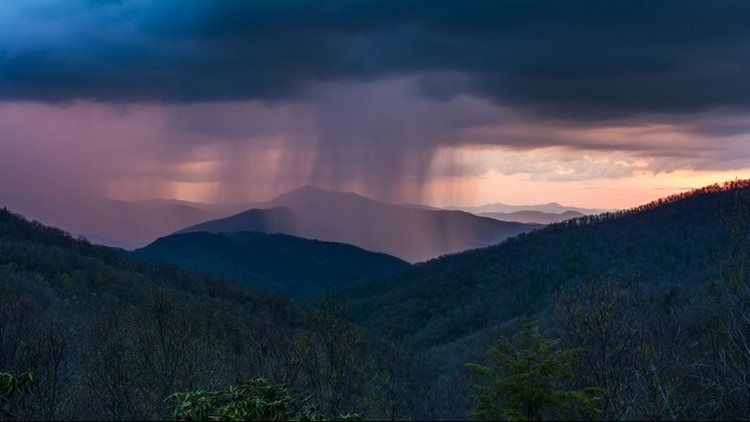 A combination of the sunset and rain created a purple display in the mountains of North Carolina.