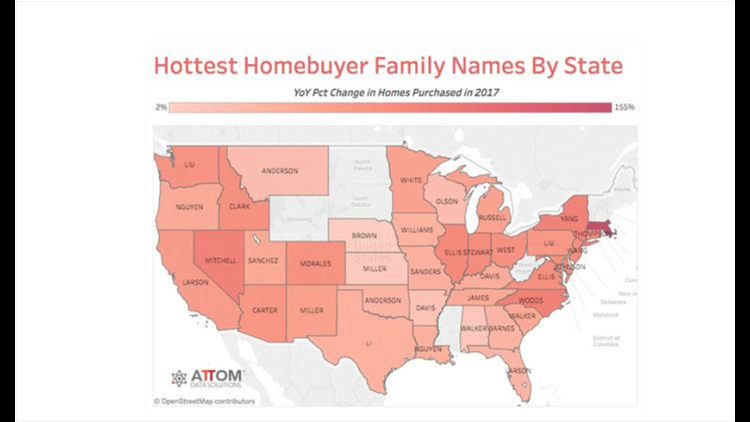 "Attom Data Solutions released its ""Hottest Homebuyer Last Names in 2017"" list."