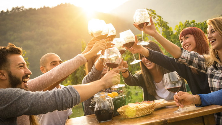wine festival friends happy cropped