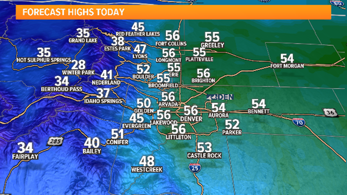 50s and sunshine for Sunday, mountain snow Monday