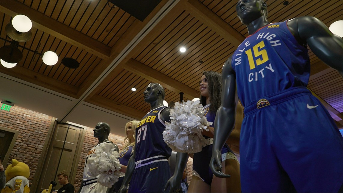 pretty nice 85c5e 236b9 Denver Nuggets unveil new logo, jerseys | 9news.com