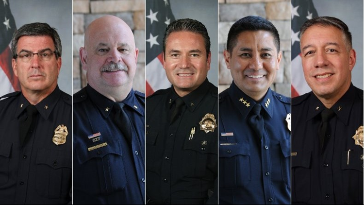 All five men are currently with the Denver Police Department in some capacity and have been for decades.