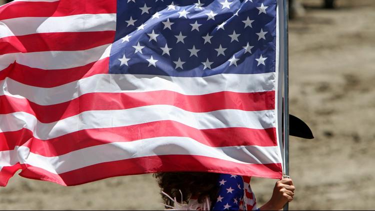 state fair cowgirl american flag closeup