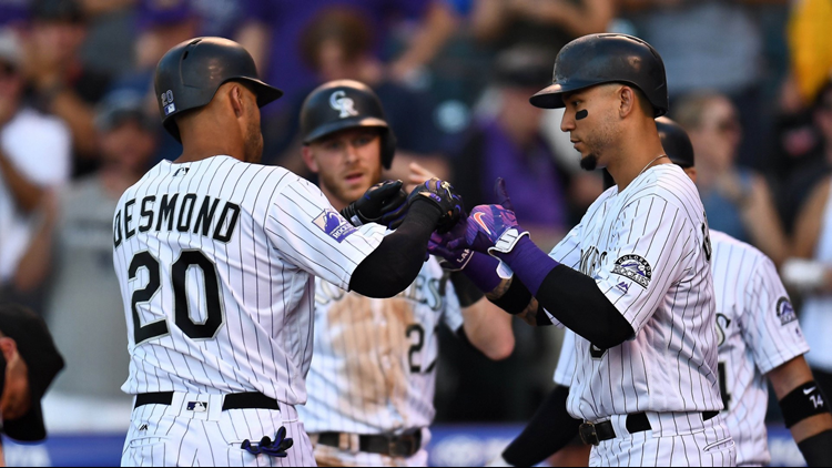 Carlos Gonzalez hit two homers, starter German Marquez also went deep for one of Colorado's five home runs as the Rockies routed the Arizona Diamondbacks 19-2 on Wednesday night.