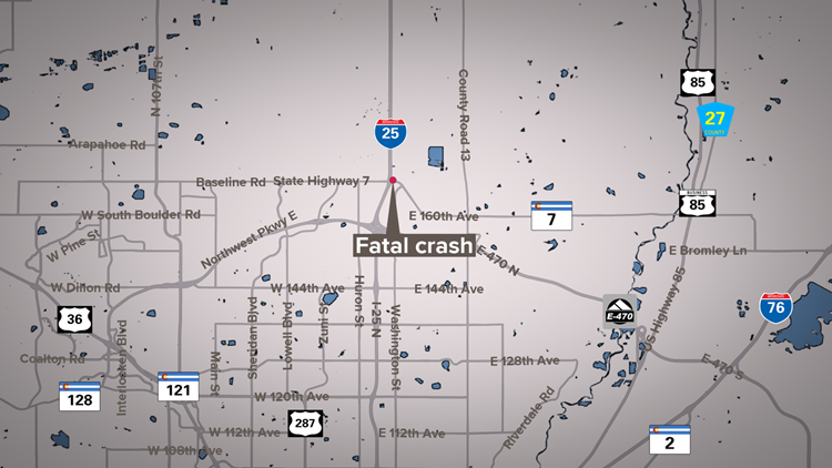 Pedestrian killed in crash on I-25 frontage road in Broomfield