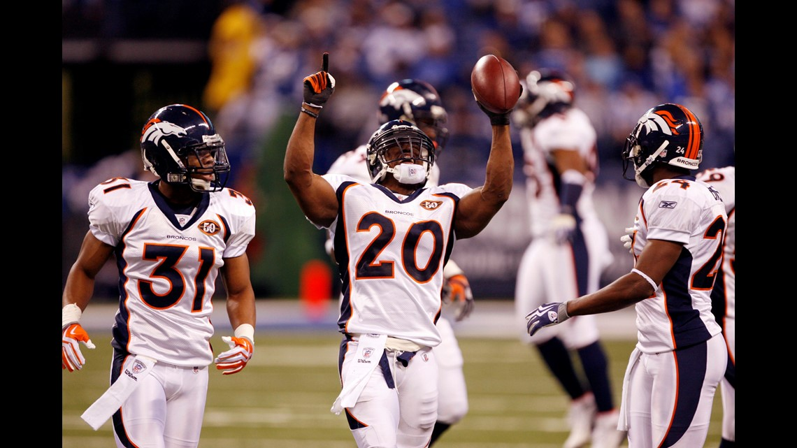 b6626fbf934 Dec 13, 2009; Indianapolis, IN, USA; Denver Broncos safety Brian Dawkins  (20) reacts to intercepting a pass from Indianapolis Colts quarterback  Peyton ...