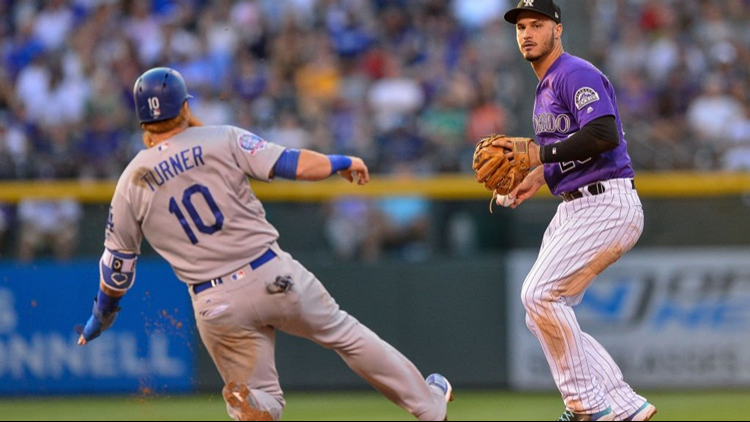 Colorado Rockies All-Star third baseman Nolan Arenado left the game against the Dodgers in the top of the fifth inning with a sore right shoulder.