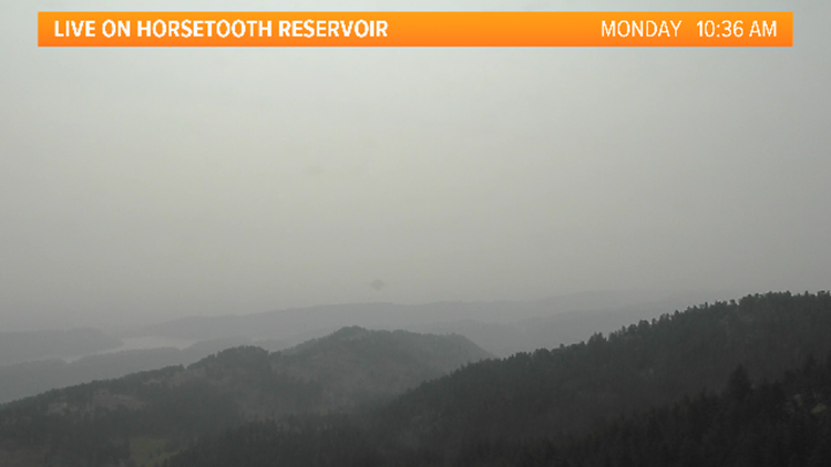 Thick smoke clouds the air across the Front Range Monday