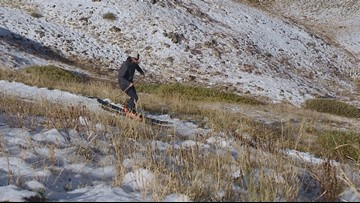 Snow at high elevation had one skier on the slopes