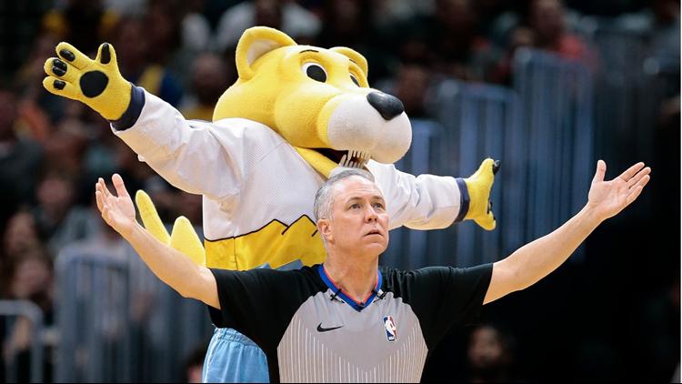 Super Mascot Rocky Denver Nuggets referee