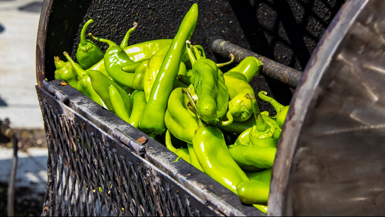GREEN CHILE CHILIES PEPPERS ROASTING