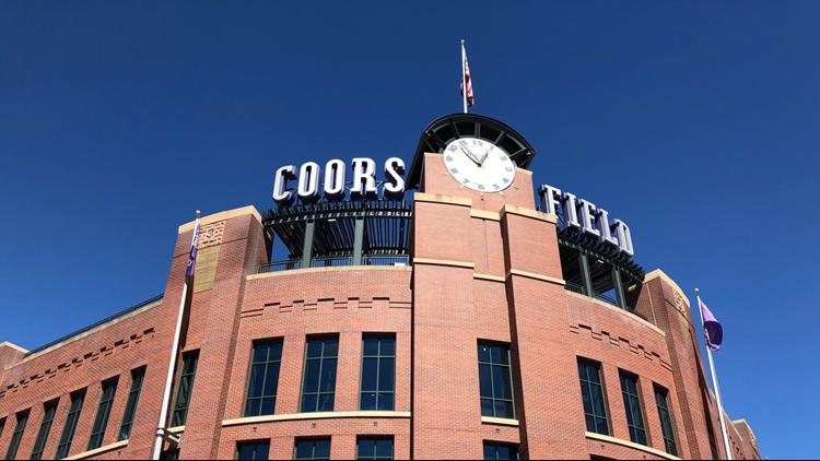 Coors Field entrance clock Alex daytime