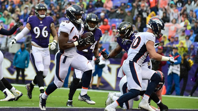 About the only steady element to the first half of the Broncos-Baltimore Ravens game here Sunday at M&T Bank Stadium was the rain.