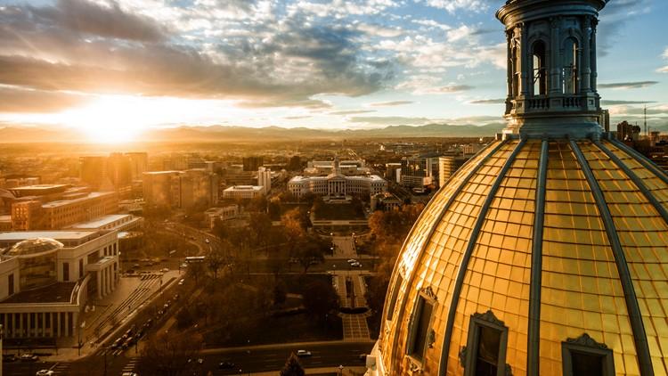 denver sunset capitol dome skyline colorado capitol