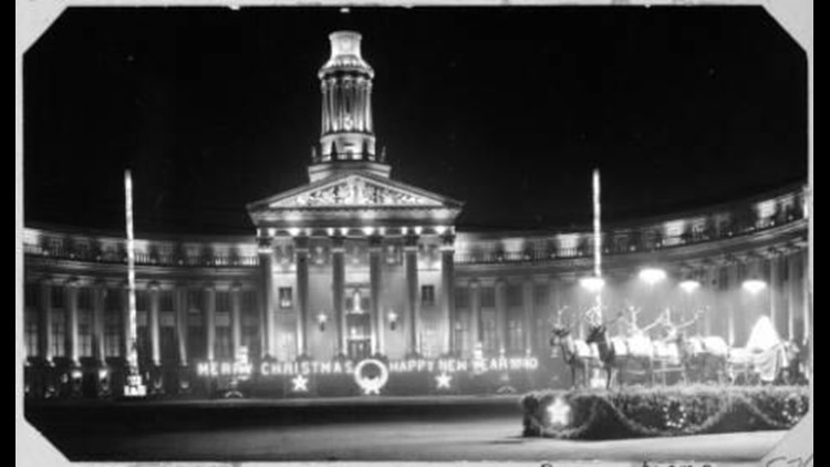 Denver City & County Building holiday lighting display in 1938 Light the Lights