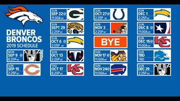 Denver Broncos release 2019 schedule